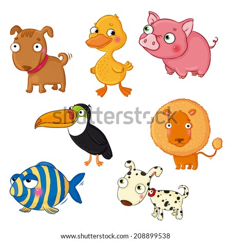 A set of drawings of animals - dog, duck, pig, toucan bird, lion, fish, dog in spots