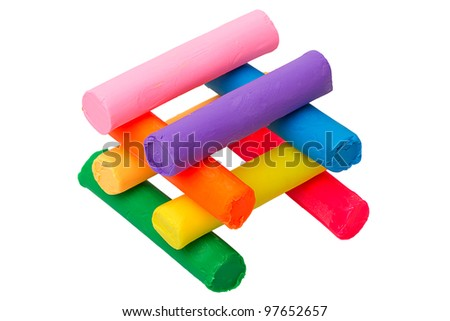 A set of eight colors of plasticine. Modelling and design for children.