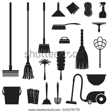 A set of equipment for house cleaning - stock photo