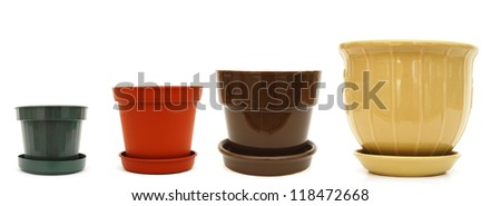 A set of flower size planters - stock photo