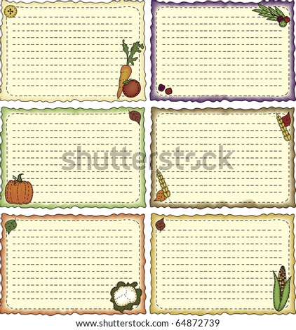 a set of folk-art styled recipe or note cards