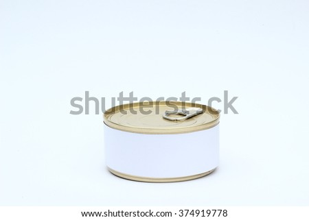 A set of food Tin Can with Blank White Label On white background - stock photo