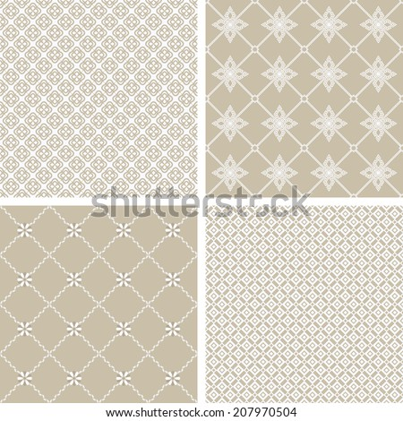 A set of four monochrome geometrical patterns. White, beige,grille texture in Arabic, Oriental style. A seamless background.