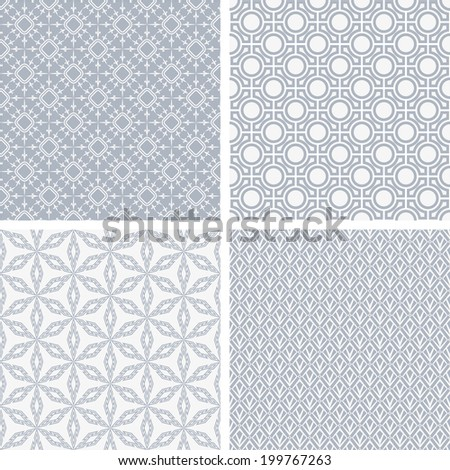 A set of four monochrome geometrical patterns. White, blue grille texture in Arabic, Oriental style. A seamless  background.