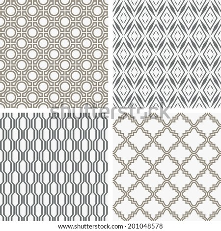 A set of four monochrome geometrical patterns. White, gray grille texture in Arabic, Oriental style. A seamless background.