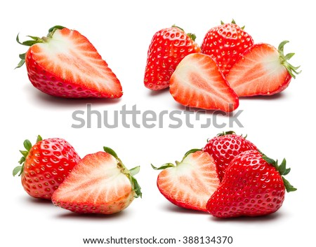 A set of fresh strawberry isolated on white background. - stock photo