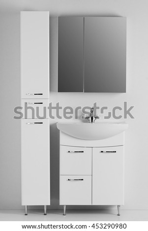 A set of furniture for the bathroom on a white background