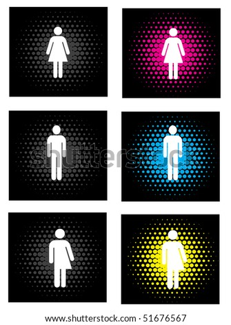 a set of gender icons with bright colors