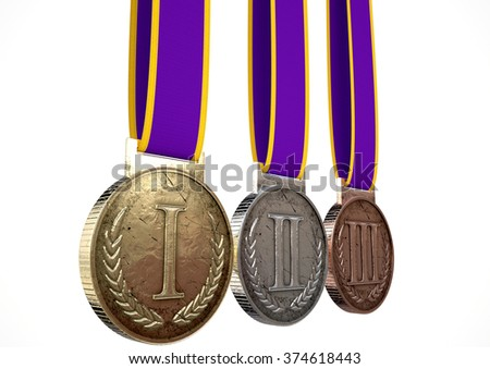 A set of gold, silver and bronze medals with ribbons on an isolated white studio background