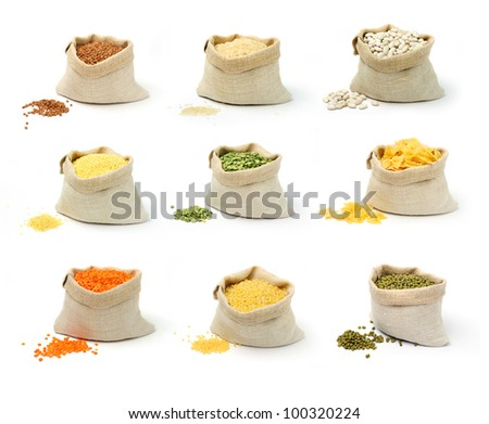 A set of groats in sacks on white background - stock photo