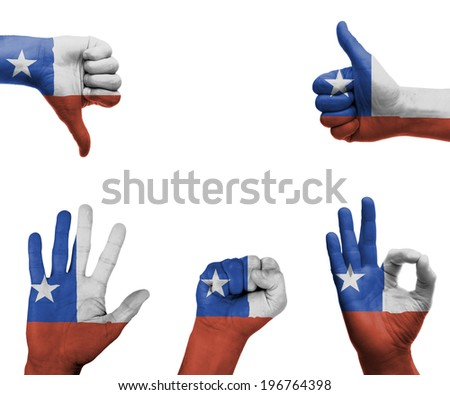 A set of hands with different gestures wrapped in the flag of Chile - stock photo
