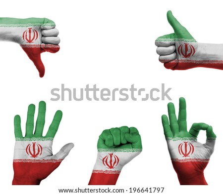A set of hands with different gestures wrapped in the flag of Iran