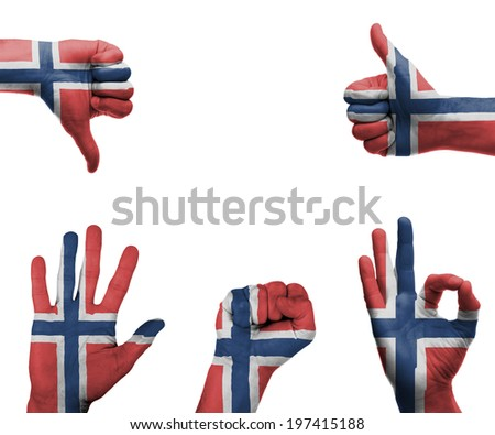A set of hands with different gestures wrapped in the flag of Norway - stock photo
