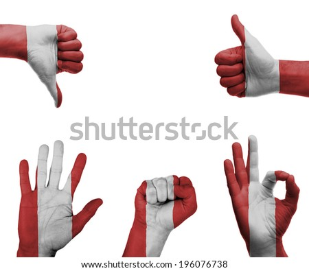 A set of hands with different gestures wrapped in the flag of Peru - stock photo