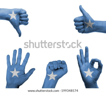 A set of hands with different gestures wrapped in the flag of Somalia