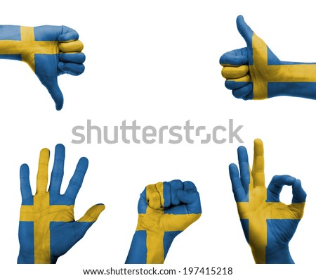 A set of hands with different gestures wrapped in the flag of Sweden - stock photo