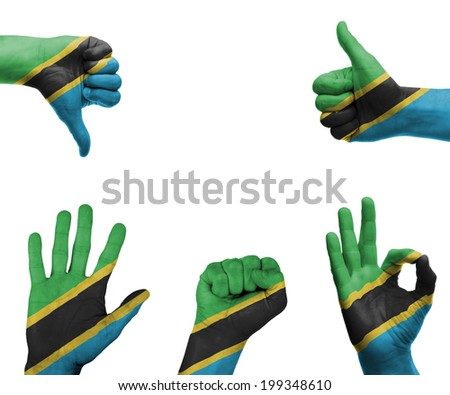 A set of hands with different gestures wrapped in the flag of Tanzania - stock photo