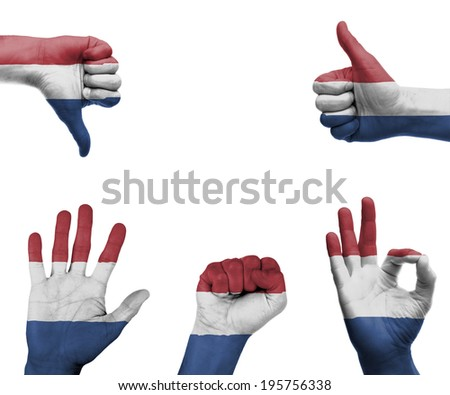 A set of hands with different gestures wrapped in the flag of the Netherlands - stock photo