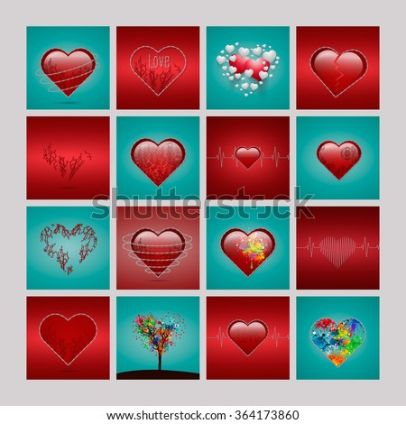 A set of heart shapes. - stock photo