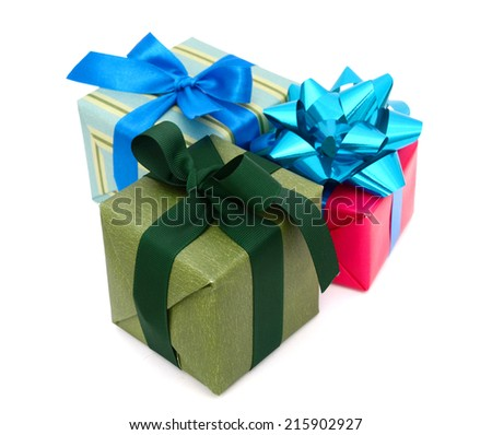 A set of holiday gift boxes