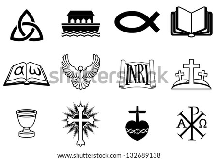 A set of icons pertaining to Christianity and Christian themes