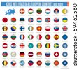 a set of icons with flags of all european countries isolated on withe,collection 2010, clip art illustration - stock photo