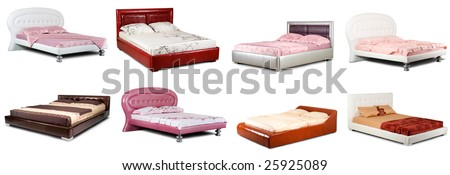 A set of images of various beds, isolated on a white background.