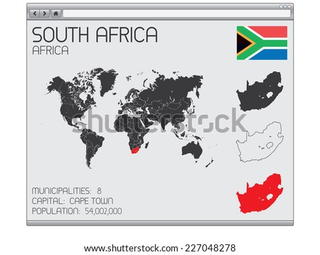 A Set of Infographic Elements in a Web Browser for the Country of South Africa