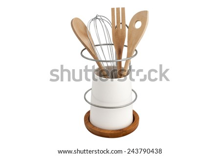 a set of kitchen tools in a ceramic Cup on a wooden stand isolated on white background - stock photo