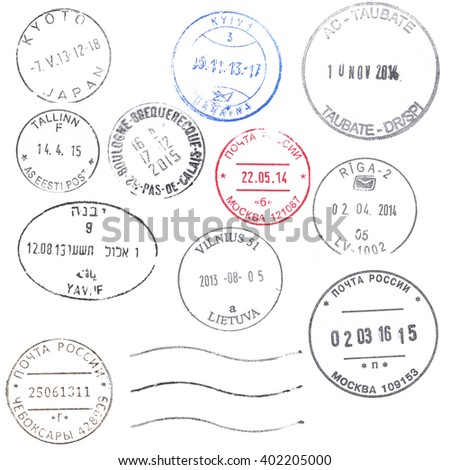 A set of large modern postal marks from all over the world isolated on white. Ideal for bitmap brushes, collages, etc. - stock photo