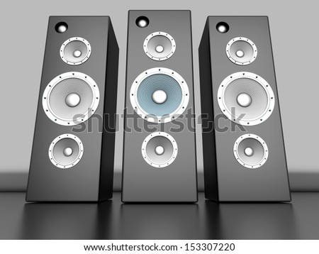 A set of Loudspeakers. 3D rendered Illustration.