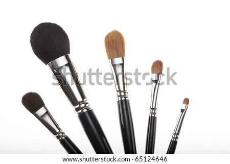 a set of 5 make-up brushes, shot on white background, in a fan composition. only the bristles half of the brushes is shown.
