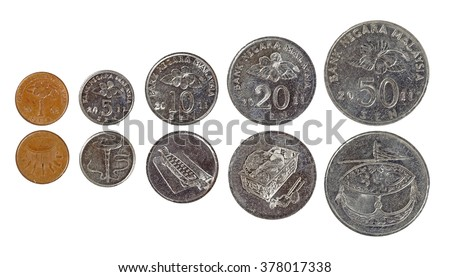 A set of Malaysian coinage, isolated against white.