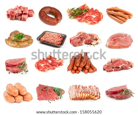 A set of meat isolated on a white background - stock photo