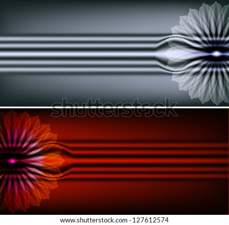A set of metal backgrounds with flower. Raster copy of vector image - stock photo