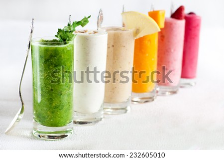 A set of multicoloured smoothies