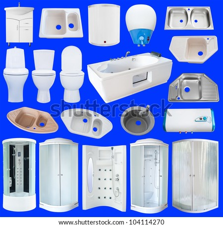 a set of new bathroom equipment (sanitaryware), isolated over blue - stock photo