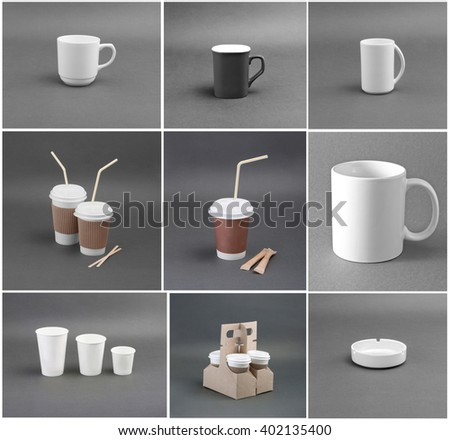 A set of paper and ceramic coffee cups on a gray background - stock photo
