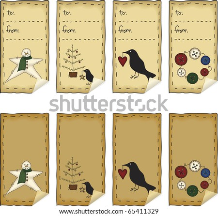 A set of peeling Christmas tags Each tag has been grouped individually. Lettering is hand-drawn.  File contains simple 10-step blends and linear gradients. - stock photo