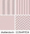 A set of 4 perfect seamless girlie Zig zag patterns. - stock vector