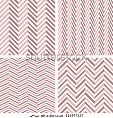 A set of 4 perfect seamless girlie Zig zag patterns. - stock photo