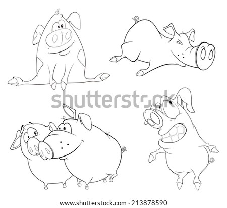 A set of pigs. Coloring book