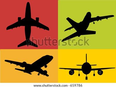 a set of plane illustrations - stock photo