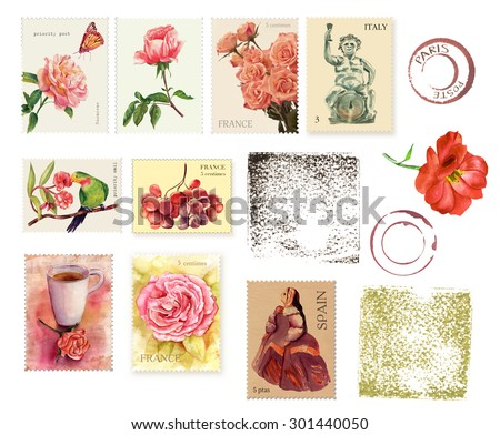 A set of postage stamps with flowers and postcard design elements, watercolour drawings on white background - stock photo