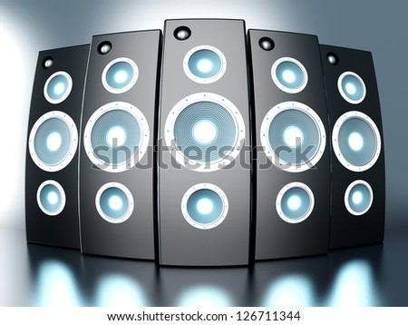 A set of powerful Loudspeakers. 3D rendered Illustration. - stock photo