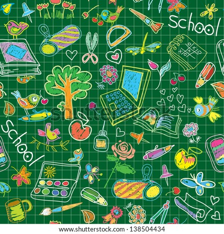 A set of school subjects for training and recreation. Seamless background. Raster version of vector file - stock photo