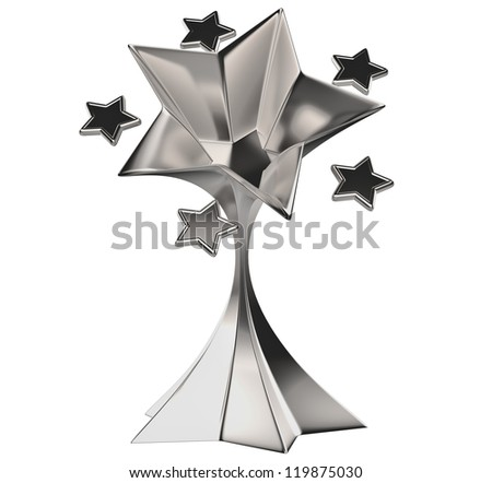 a set of seven shiny silver stars in motion for advertise - stock photo