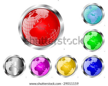 A set of seven wire mesh earth globe web  buttons isolated on white