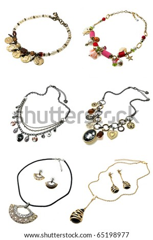 a set of six necklaces isolated on white - stock photo