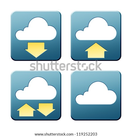 A set of some nice and modern cloud signs with clipping path